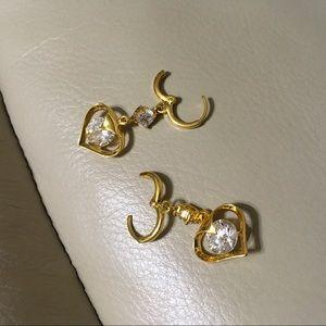 Crystal Heart Yellow 14K GF Dangle Hoop Earrings